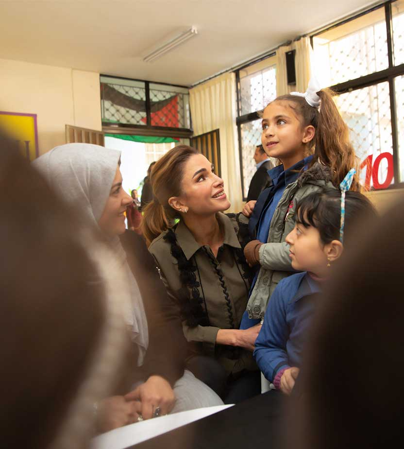 Queen Rania in a school